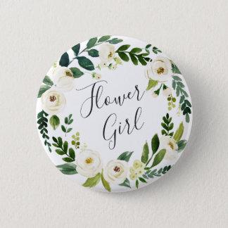 Alabaster Floral Wreath Flower Girl Pinback Button