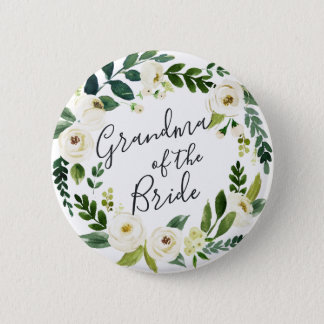 Alabaster Floral Wreath Grandma of the Bride Button