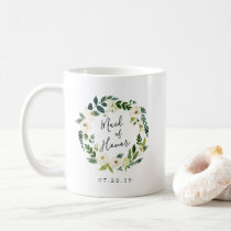 Alabaster Floral Wreath Maid of Honor Coffee Mug