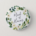 """Alabaster Floral Wreath Maid of Honor Pinback Button<br><div class=""""desc"""">Identify the key players at your bridal shower with our elegant,  sweetly chic floral buttons. Button features a green and white watercolor floral wreath with &quot;maid of honor&quot; inscribed inside in hand lettered script.</div>"""