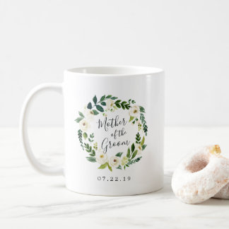 Alabaster Floral Wreath Mother of the Groom Coffee Mug