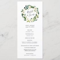 Alabaster Floral Wreath Wedding Ceremony Program