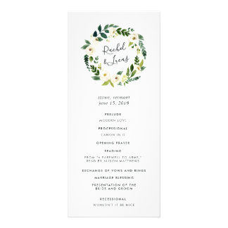 Alabaster Floral Wreath Wedding Ceremony Program
