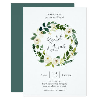 Alabaster Floral Wreath Wedding Invitation