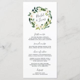 Alabaster Floral Wreath Wedding Menu Card