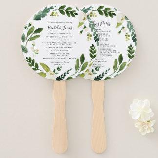 Alabaster Floral Wreath Wedding Program Hand Fan