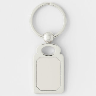 Alabaster Solid Color Silver-Colored Rectangular Metal Keychain