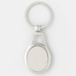 Alabaster Solid Color Silver-Colored Oval Metal Keychain