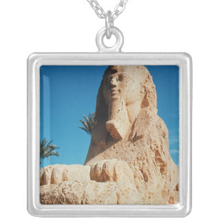 Alabaster Sphinx, New Kingdom Silver Plated Necklace