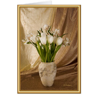 Alabaster vase with tulips card