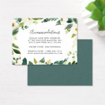 "Alabaster | Wedding Hotel Accommodation Cards<br><div class=""desc"">Slip these chic,  petite cards into your wedding invitations to let out of town guests know of any hotel arrangements or group codes. Designed to coordinate with our Alabaster wedding collection,  cards feature off-black lettering with a botanical and floral border in watercolor shades of green and white.</div>"