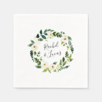 Alabaster Wreath | Botanical Personalized Wedding Paper Napkin
