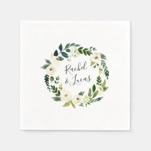 Alabaster Wreath | Botanical Personalized Wedding Paper Napkin