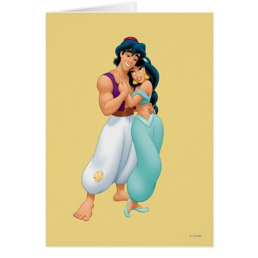 Aladdin and Jasmine Hugging 2 Cards