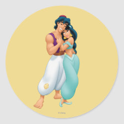 Round Sticker with Aladdin Loves Jasmine Forever design