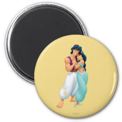 Round Magnet with Aladdin Loves Jasmine Forever design