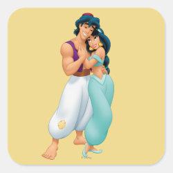 Square Sticker with Aladdin Loves Jasmine Forever design