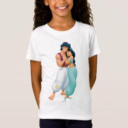 Girls' Fine Jersey T-Shirt with Aladdin Loves Jasmine Forever design