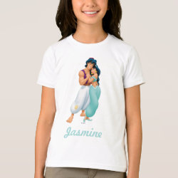 Girls' American Apparel Fine Jersey T-Shirt with Aladdin Loves Jasmine Forever design
