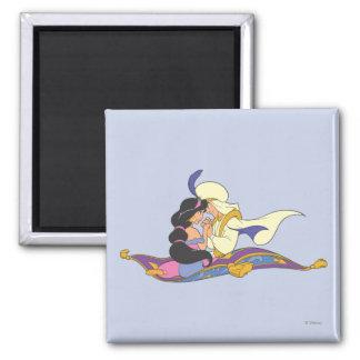 Aladdin y jazmín en la alfombra mágica imán cuadrado