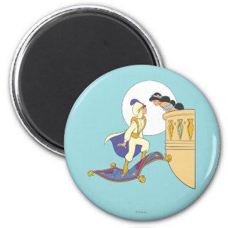Aladdin y jazmín imán redondo 5 cm