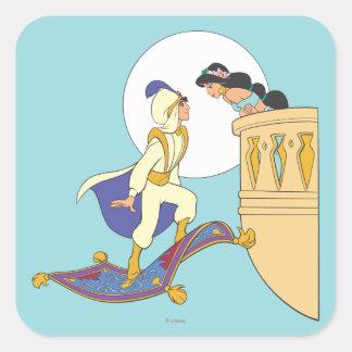 Aladdin y jazmín pegatina cuadrada
