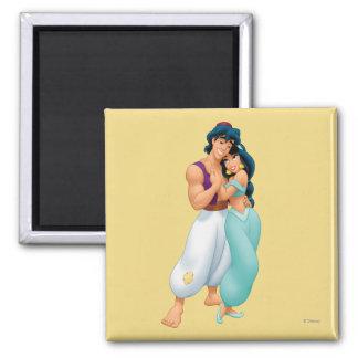Aladdin y jazmín que abrazan 2 imán cuadrado
