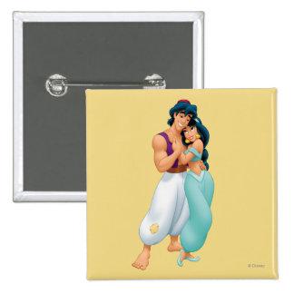 Aladdin y jazmín que abrazan 2 pin cuadrado