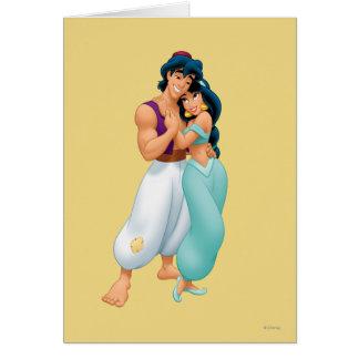 Aladdin y jazmín que abrazan 2 tarjeta de felicitación
