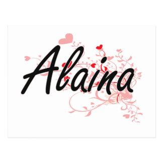 Alaina Artistic Name Design with Hearts Postcard