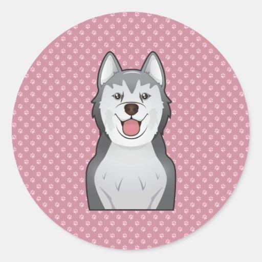 Alakan Malamute Cartoon Portrait Round Stickers
