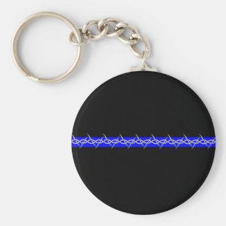 Alambre de púas Blue Line de las correcciones Llavero Redondo Tipo Pin
