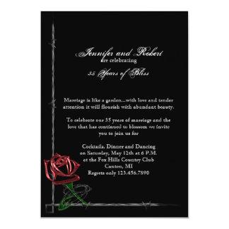 """Alambre de púas gótico y aniversario de boda color invitación 5"""" x 7"""""""