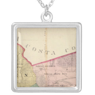 Alameda County map Silver Plated Necklace