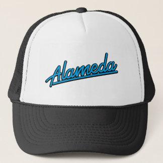 Alameda in cyan trucker hat