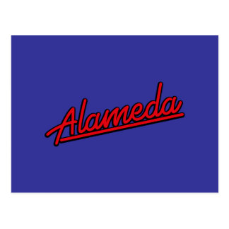 Alameda in red postcard