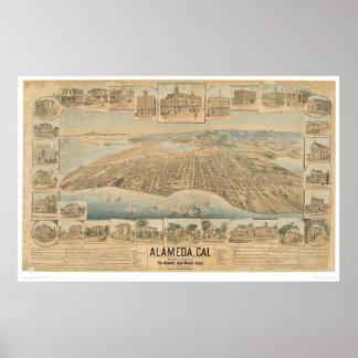 Alameda, mapa panorámico del CA (0540A) Póster