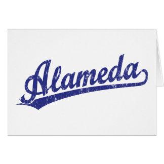 Alameda script logo in blue greeting cards