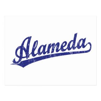 Alameda script logo in blue post card