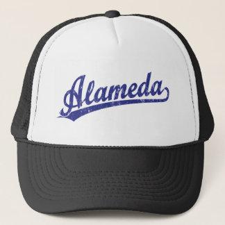 Alameda script logo in blue trucker hat