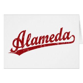 Alameda script logo in red card