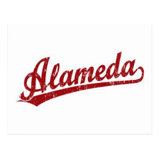 Alameda script logo in red post cards