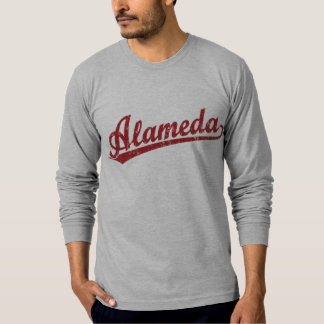 Alameda script logo in red T-Shirt