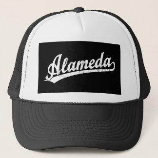 Alameda script logo in white distressed trucker hat