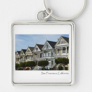 Alamo Square in San Francisco Silver-Colored Square Keychain