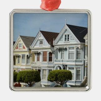 Alamo Square Victorian Houses in San Francisco Metal Ornament