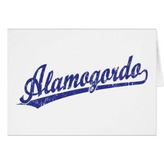 Alamogordo script logo in blue card