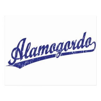 Alamogordo script logo in blue postcard
