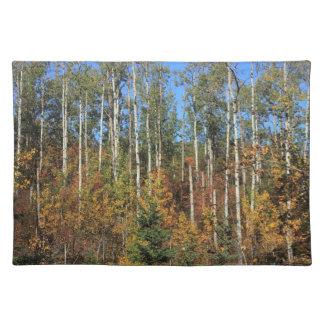 Álamos de Aspen en otoño Manteles Individuales