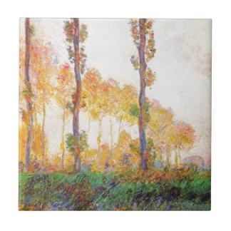 Álamos de Claude Monet //(otoño) 1891 Azulejo Cuadrado Pequeño